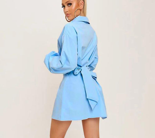 Girl in Blue Buttoned Shirt Dress