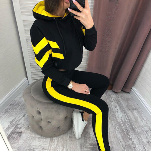 Hooded Stripe Tracksuit, 2-Piece-Set