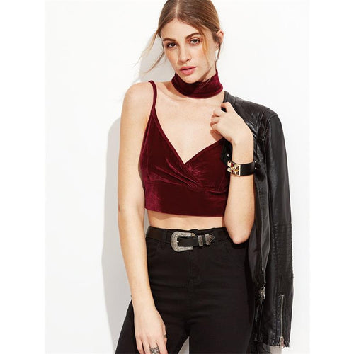 Red Wine Velvet Crop Top