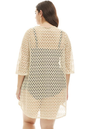 Crochet Lace Up Plus Size Cover Up Apricot Stayoung Collection