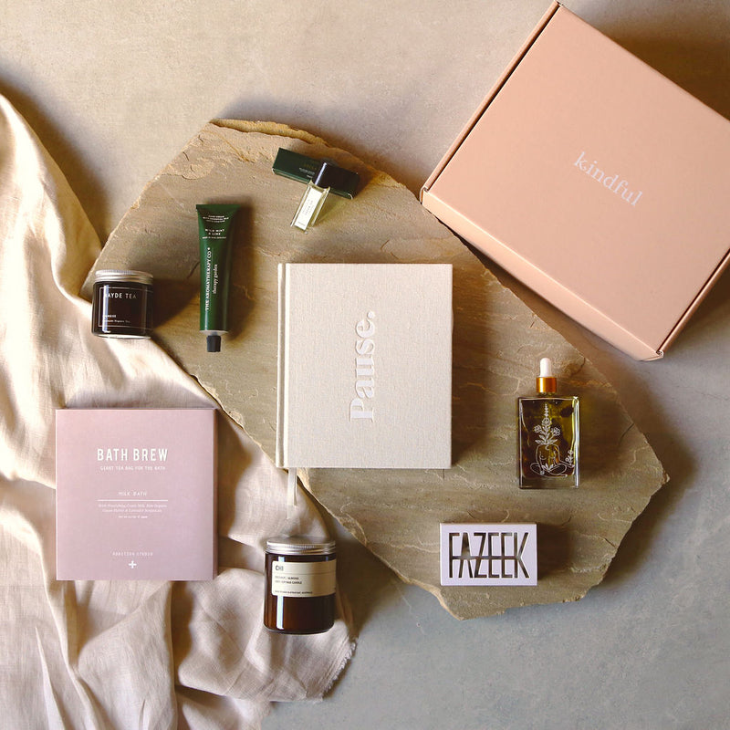 The ultimate Kindful gift box for self-care and mindfullness, filled with the best Australian brands including Frank Green Keep Cup, Edible Beauty Lip Balm, Fazeek Soap & Aromatherapy Co Handcream.