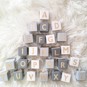 Wooden Alphabet Letter Name Blocks for Toddlers