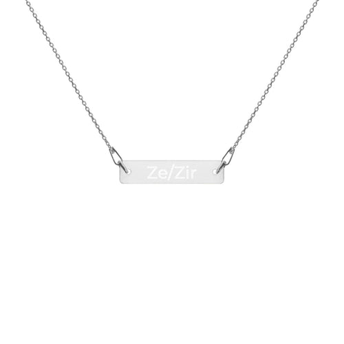 Ze/Zir Engraved Silver Bar Chain Necklace - Big Gay Store