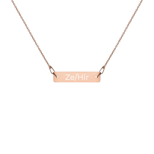 Ze/Hir Engraved Silver Bar Chain Necklace - Big Gay Store
