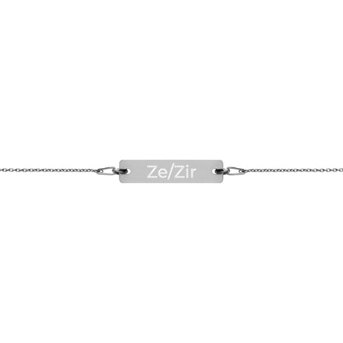 Ze/Zir Engraved Silver Bar Chain Bracelet - Big Gay Store