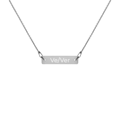 Ve/Ver Engraved Silver Bar Chain Necklace - Big Gay Store