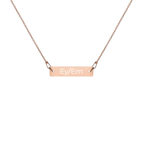 Ey/Em Engraved Silver Bar Chain Necklace - Big Gay Store