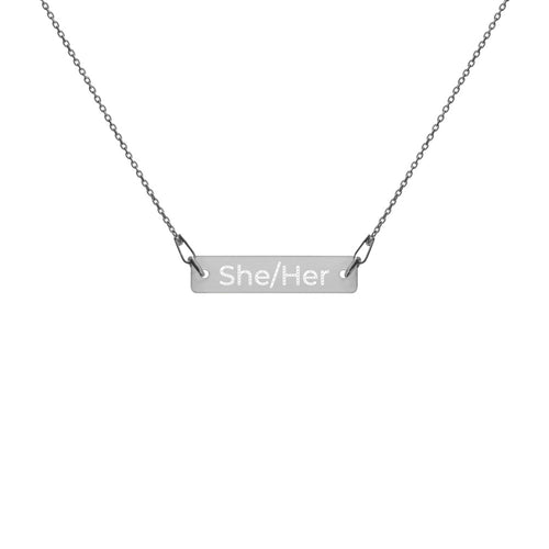 She/Her Engraved Silver Bar Chain Necklace - Big Gay Store
