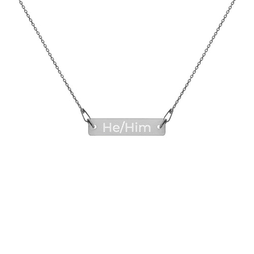 He/Him Engraved Silver Bar Chain Necklace - Big Gay Store