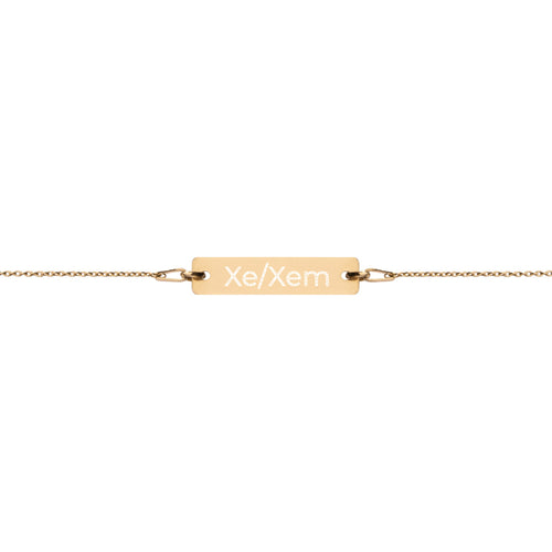 Xe/Xem Engraved Silver Bar Chain Bracelet - Big Gay Store
