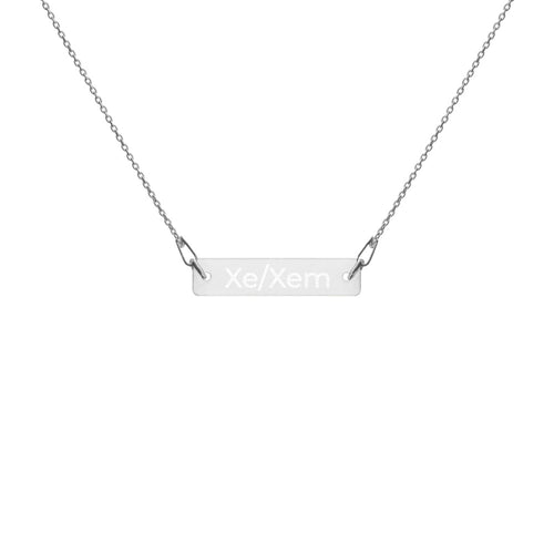 Xe/Xem Engraved Silver Bar Chain Necklace - Big Gay Store