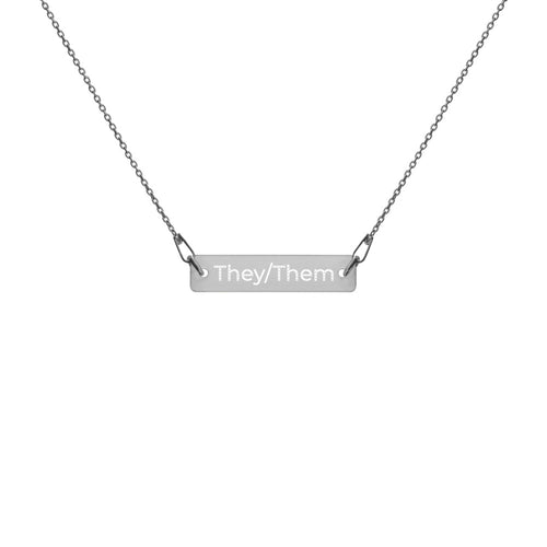 They/Them Engraved Silver Bar Chain Necklace - Big Gay Store