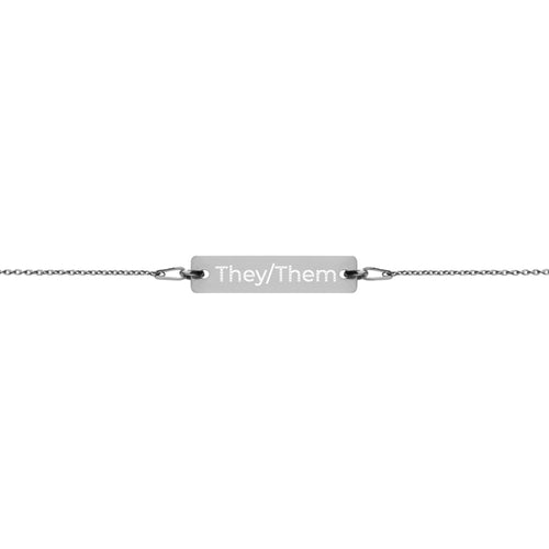 They/Them Engraved Silver Bar Chain Bracelet - Big Gay Store