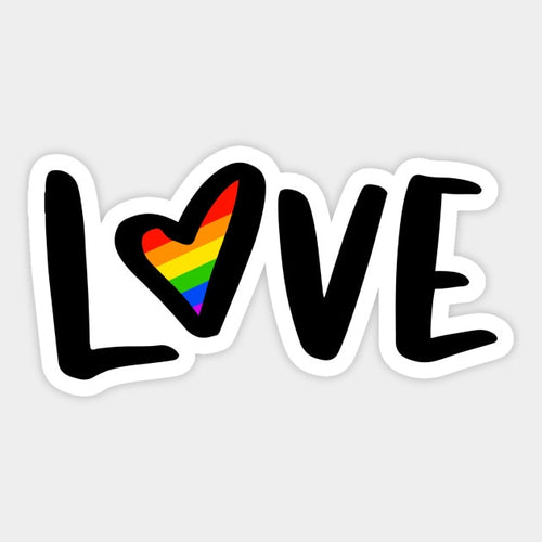 Love Rainbow Script Decal Sticker - Big Gay Store