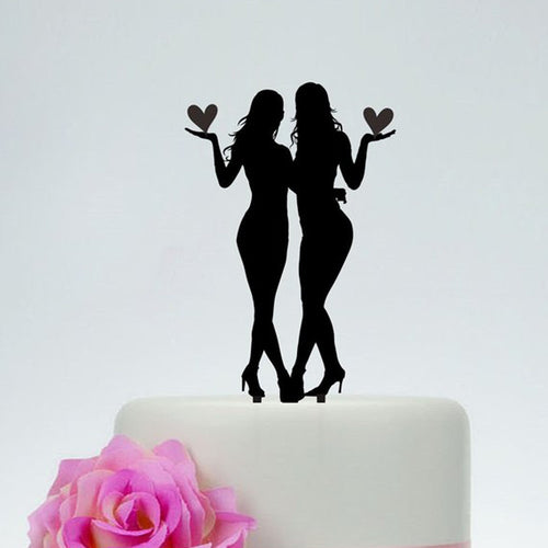 Brides Holding Hearts Together Cake Topper - Big Gay Store