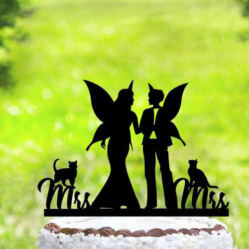 Bride Fairies W/ Cats Cake Topper - Big Gay Store