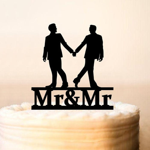 Mr & Mr Grooms Holding Hands Cake Topper - Big Gay Store
