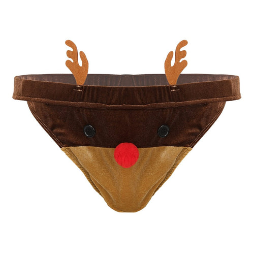 Rudolf Low-rise Brief Christmas Thong - Big Gay Store