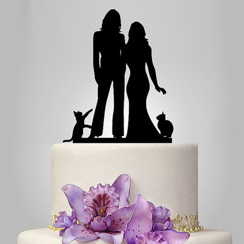 Brides Suit Dress Cats Cake Topper - Big Gay Store