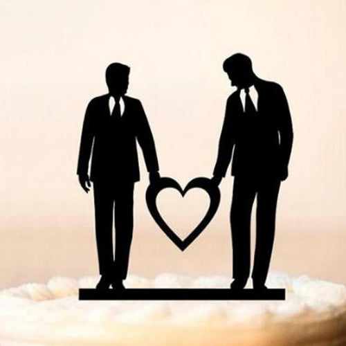 Grooms Holding Heart Cake Topper - Big Gay Store