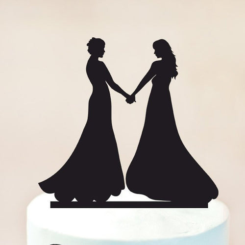 Brides Holding Hands Cake Topper - Big Gay Store