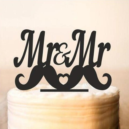Mr & Mr Moustache Cake Topper - Big Gay Store