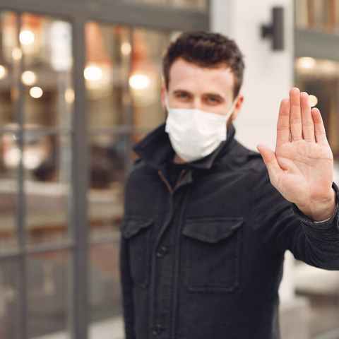 Man With Allergy Mask