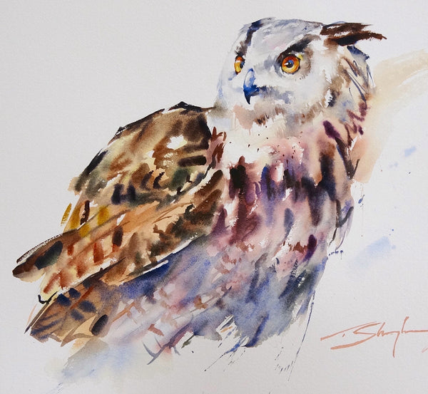 Eagle Owl Watercolour - Original Painting