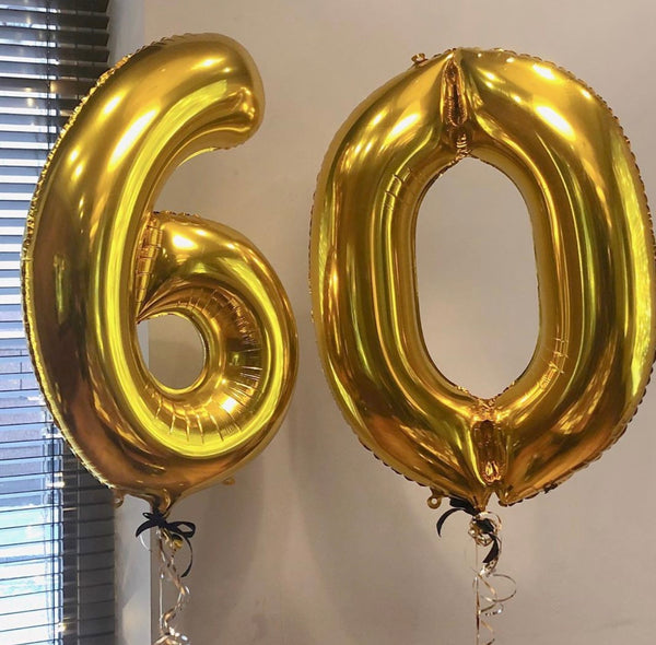 Gold number balloon