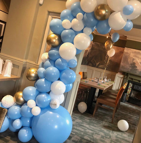 Blue, White and Gold balloon garland kit