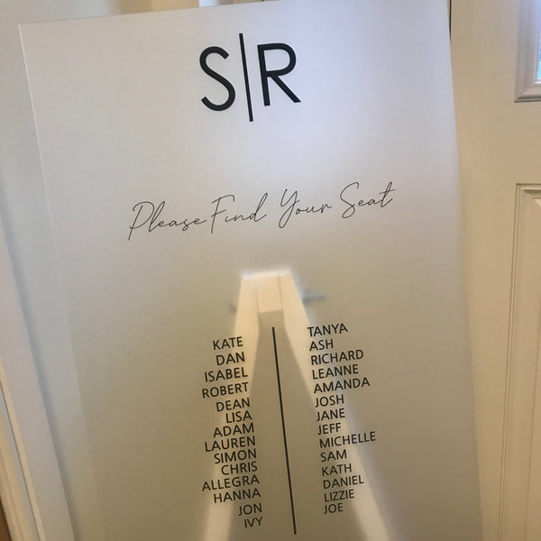 Frosted Acrylic Seating Plan
