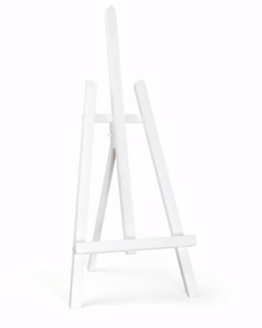 White wooden table top easel