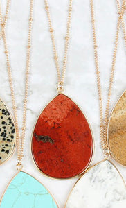 Necklace Red Oval Stone Pendant