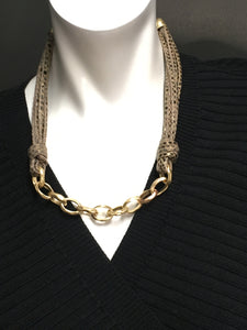 Necklace Leather Chain Link