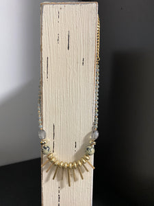 Moonlight beaded tassel necklace