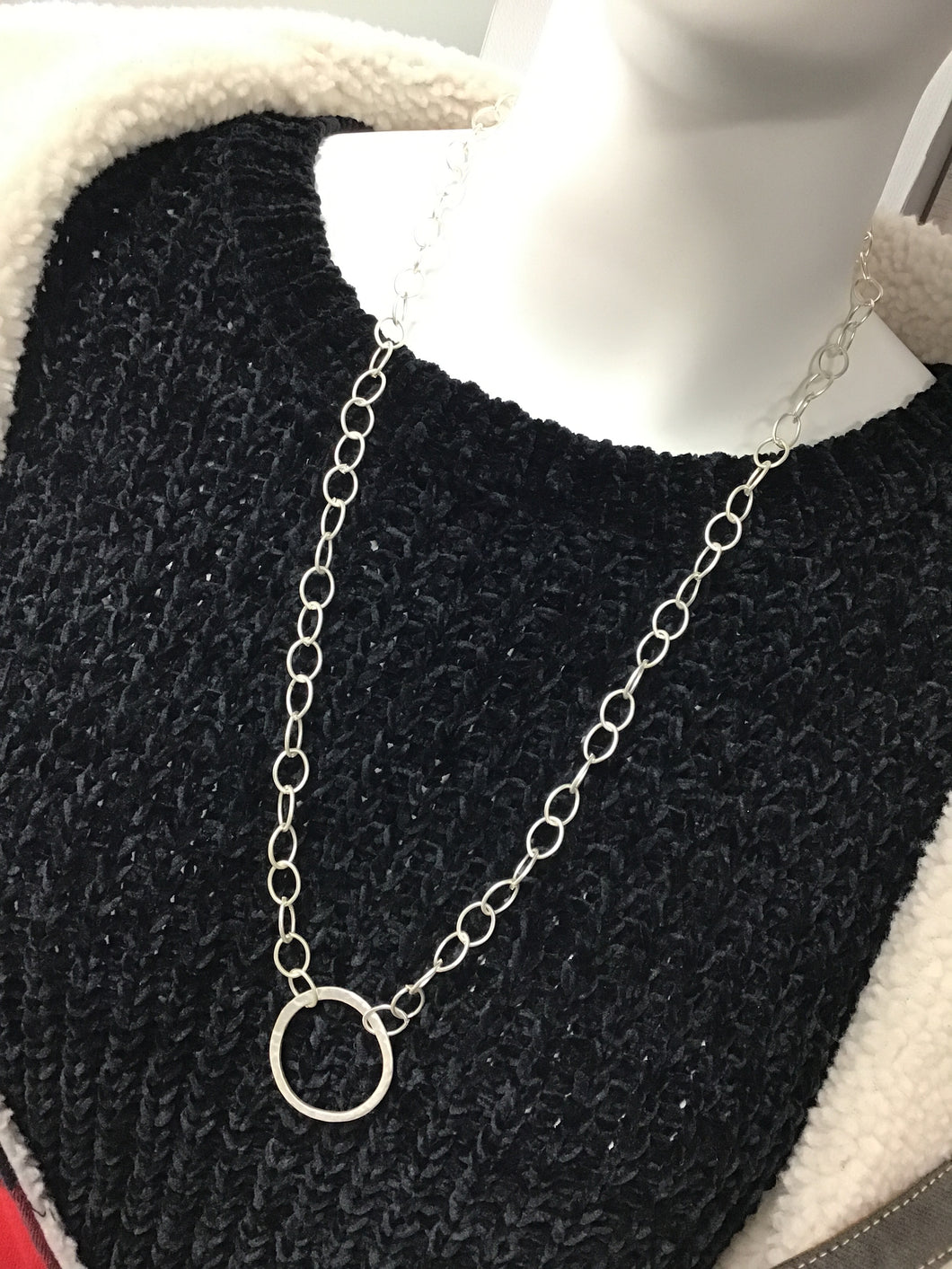 Necklace Silver Chain with Ring