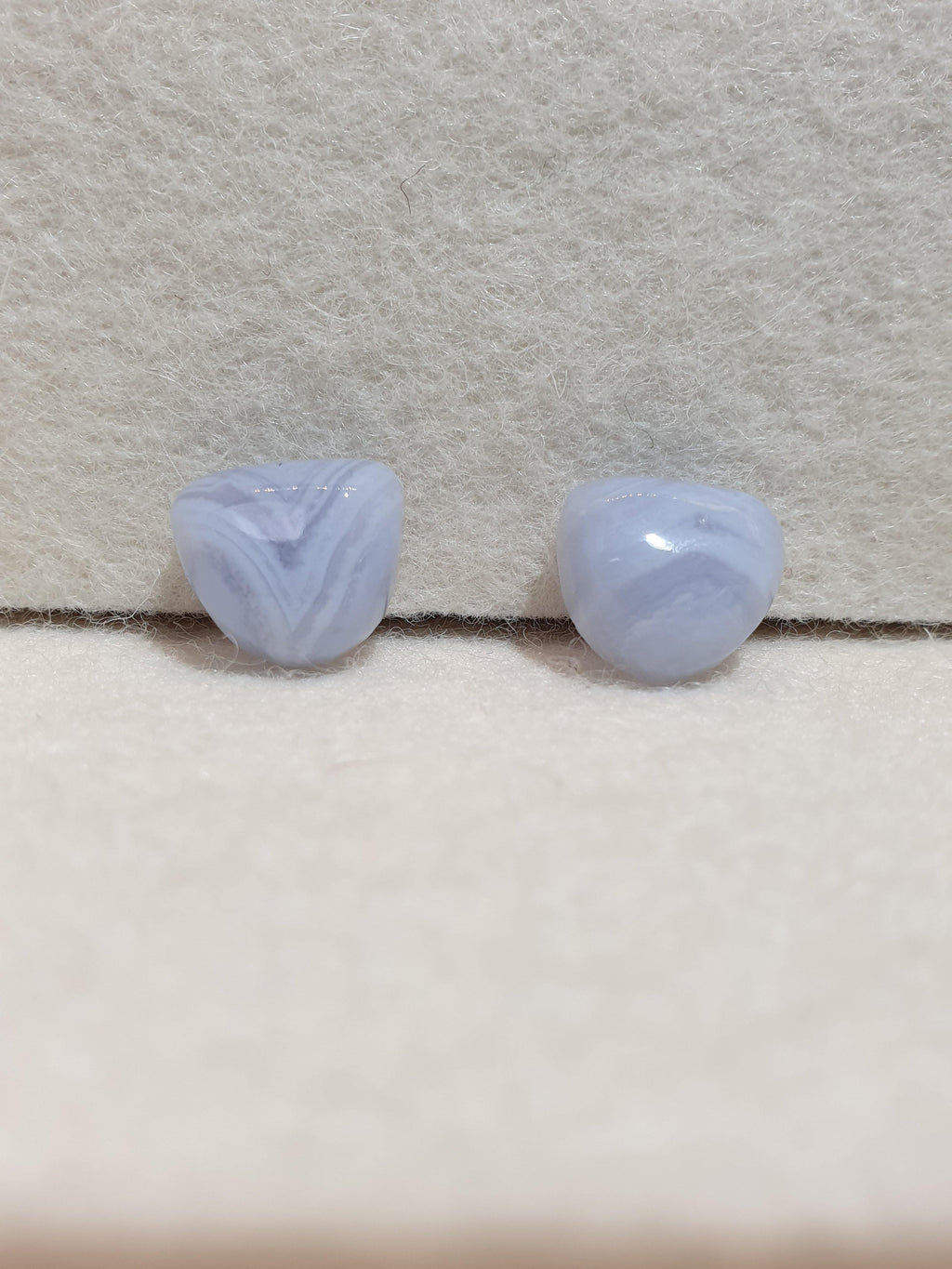 Pair of Blue lace agate cabochons - Brighton Gemstones