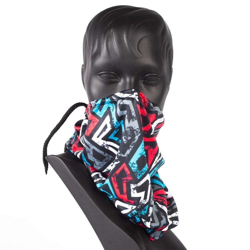 DRAWSTRING BUFF - GEOMETRIC PRINT - RED, BLUE & GREY