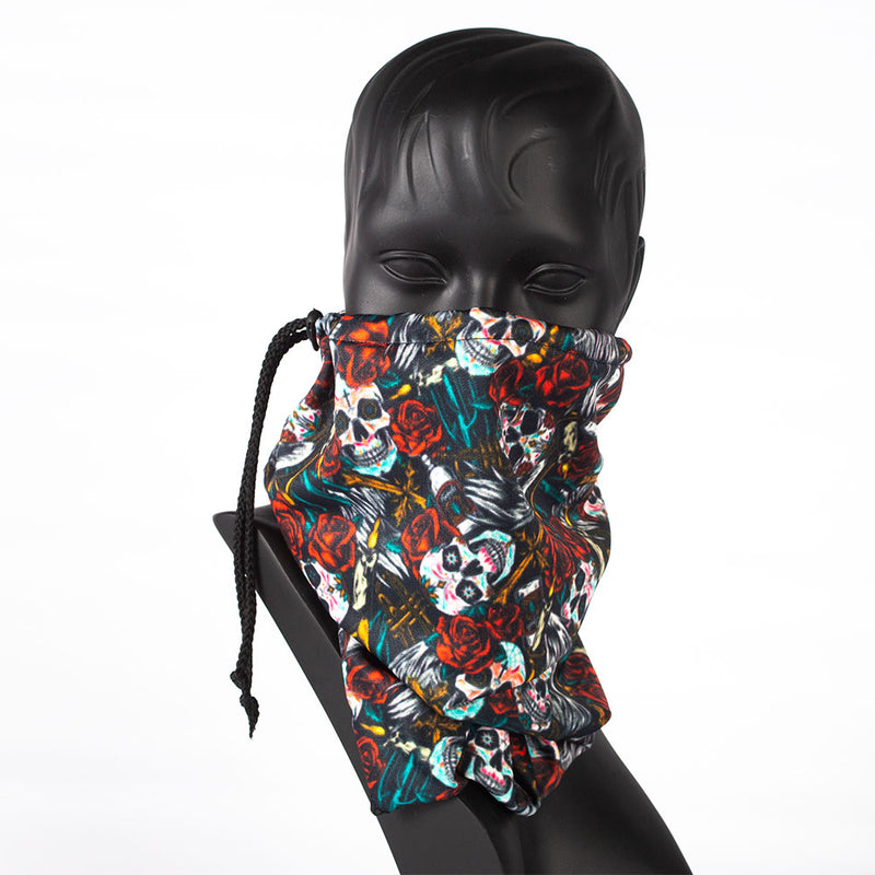 DRAWSTRING BUFF - SKULLS - MEXICAN DAY OF THE DEAD SMALL SKULLS