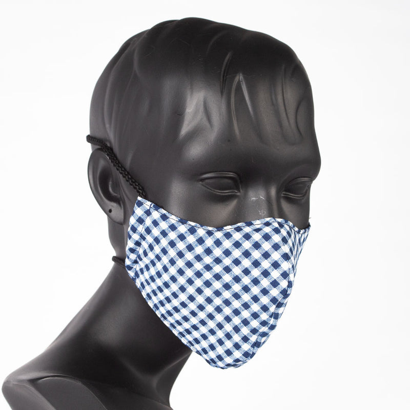 MASK - CHECK PATTERN - BLUE & WHITE