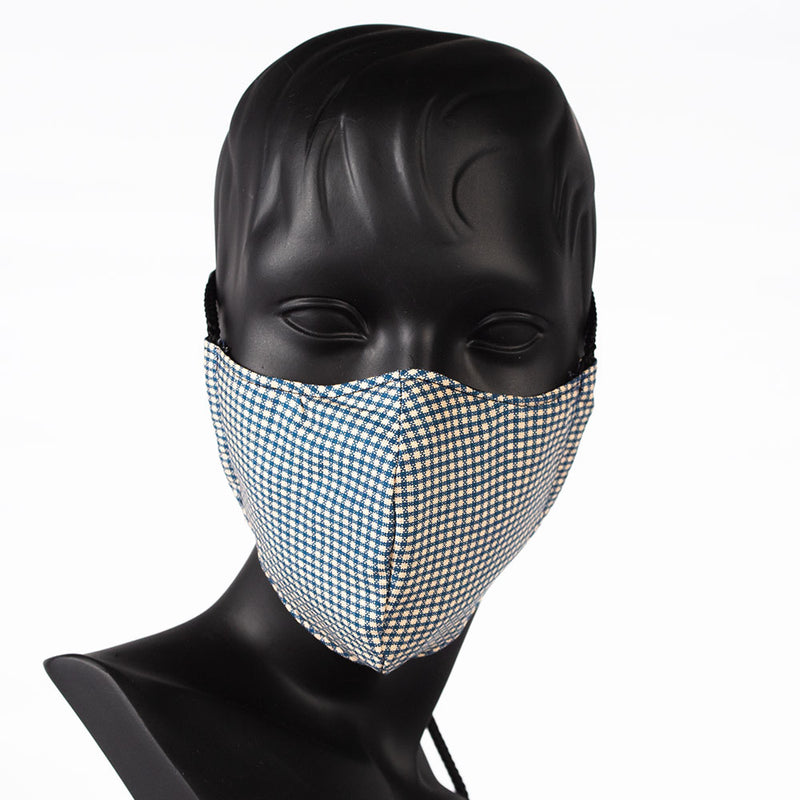MASK - CHECK PATTERN - NAVY & BEIGE