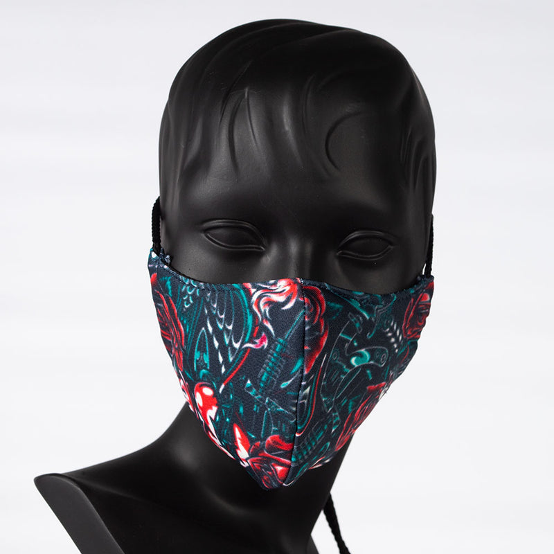 MASK - COLORFUL PRINT - GUNS, ROSES AND BIRDS