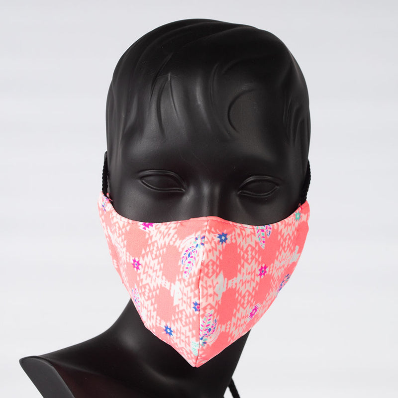 MASK - COLORFUL PRINT - PINK WITH CACTUS'S