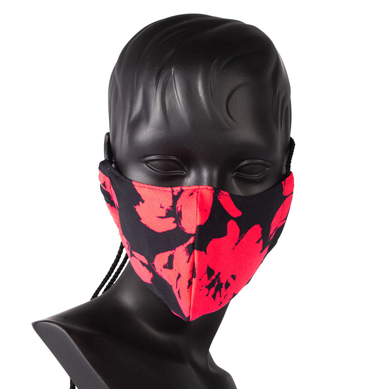 MASK - COLORFUL PRINT - RED FLOWERS ON BLACK