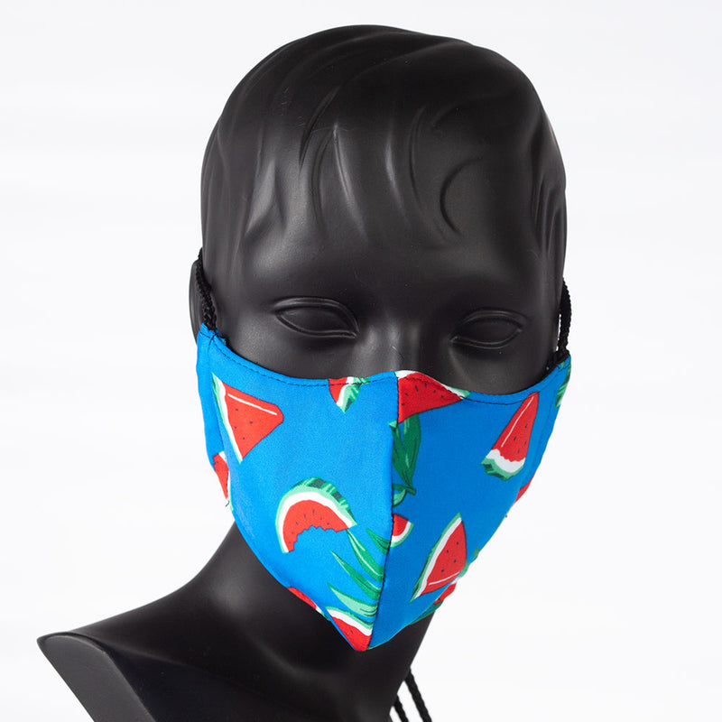 MASK - COLORFUL PRINT - WATERMELONS ON BLUE
