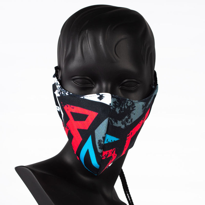 MASK - GEOMETRIC PRINT - RED, BLUE & GREY