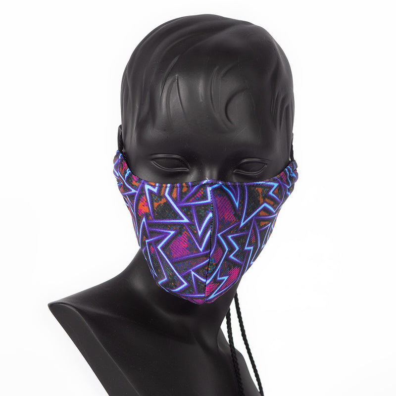 MASK - GEOMETRIC PRINT - BLUE, PURPLE, BLACK