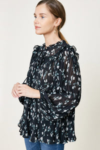 Jasmine Floral Pleated Blouse