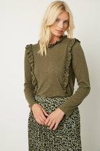 Load image into Gallery viewer, Paige Olive Ruffle Blouse