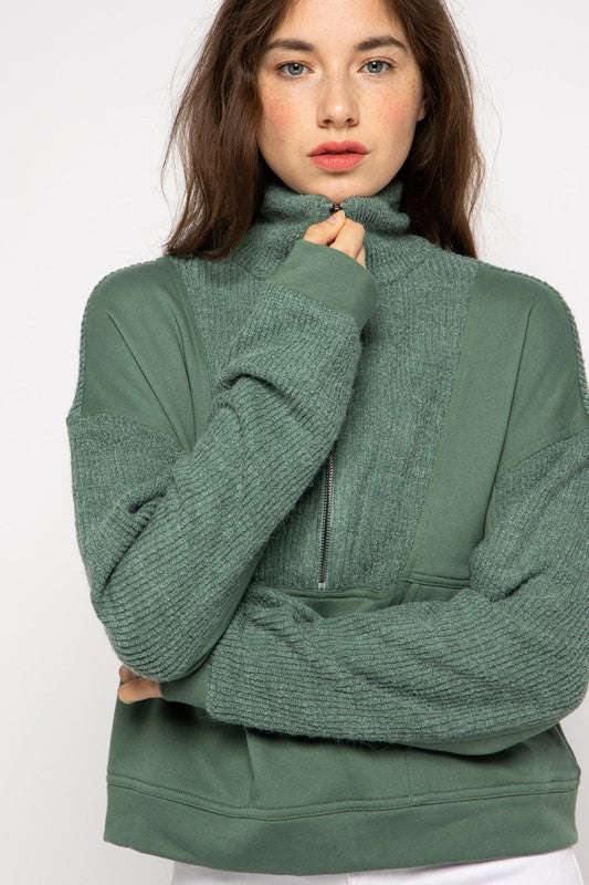 Chloe Green Pullover Half Zip Sweater